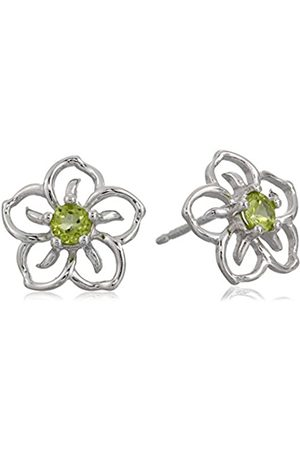 Amazon Collection Sterling Silver Genuine Peridot Flower Stud Earrings