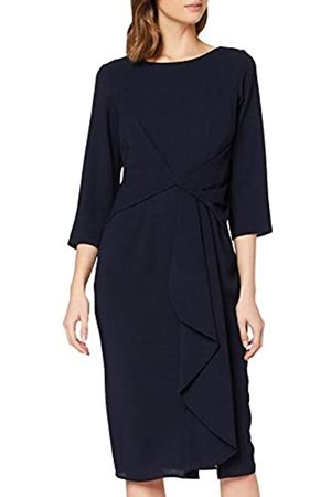 Dorothy Perkins Women's Luxe Navy Crepe Manipulated Sleeved Dress Casual