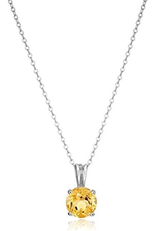 Amazon Collection Sterling Silver Genuine Citrine 8mm Round November Birthstone Pendant Necklace