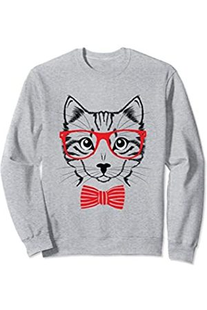 Totality Nerd Cat Glasses Bow Tie Face Hipster Sweatshirt