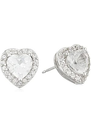 Amazon Collection Sterling Silver Created Sapphire Halo Heart Stud Earrings