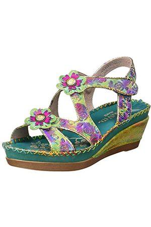 LAURA VITA Women's Becatriceo 03 Platform Sandals, (Vert Vert)