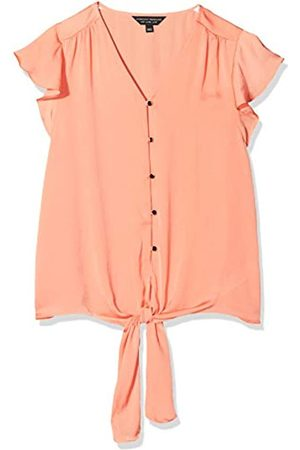 Dorothy Perkins Women's Coral Ruffle Sleeve Button Through Top Blouse