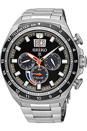 Seiko Mens Chronograph Solar Powered Watch with Stainless Steel Strap SSC603P1