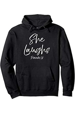 P37 Design Studio Jesus Shirts Mother's Day Proverbs 31 Woman Gift She Laughs Proverbs 31 Pullover Hoodie