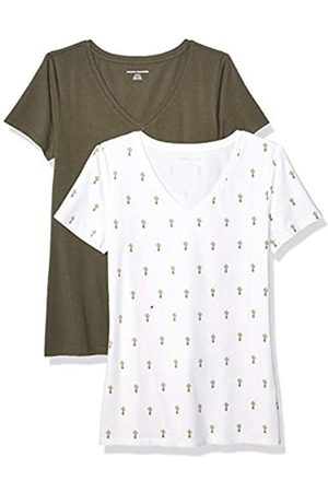 Amazon Essentials 2-pack Short-sleeve V-neck Patterned T-shirt (Cactus Print/Olive)