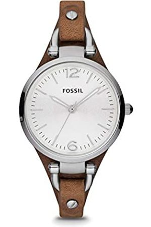 Fossil Georgia Leather Watch / Analogue Women's Wrist Watch with Thin Vintage Leather Band and Waterproof Silver Case in Gift Box - Boyfriend Design with Silver Dial
