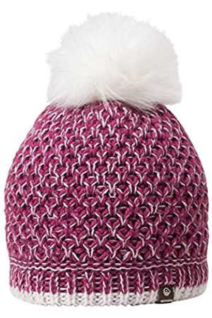 Giesswein Beanie Haberspitz BlackBerry ONE - Noble hat with Merino Wool, Fluffy Faux Fur Bobble, Warm Fleece Lining, Ladies Winter hat Made of Wool