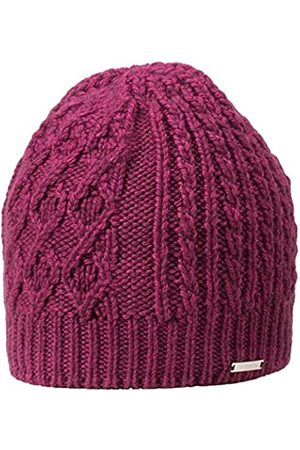 GIESSWEIN Knitted Beanie Kampenwand BlackBerry ONE - Winter Merino Wool Beanie, Women's Knit Hat with Cable Pattern, Women's Beanie, Fleece Lined Cap, Breathable