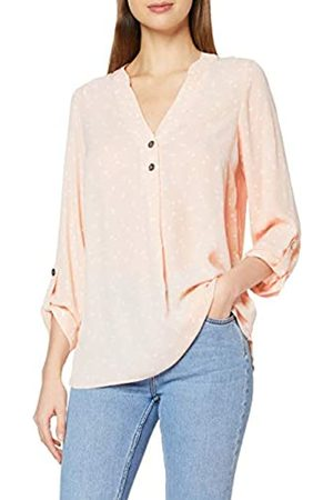 Dorothy Perkins Women's Blush Spot Double Button Collarless Roll Sleeve Top Blouse