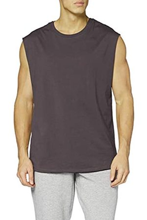 Urban Classics Men's Sleeveless T-Shirt Workout Vest with Round Neckline and Rolled Hems, Loose Tank Top, 100% Jersey Cotton, Size: Small
