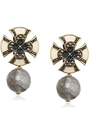 MISIS Artificialia Women's Earrings 925 Sterling Silver gold Plated Round Cut Sapphire Marcasite and Agate OR09072BL 3.5 CM
