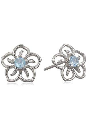 Amazon Collection Sterling Silver Genuine Sky Topaz Flower Stud Earrings