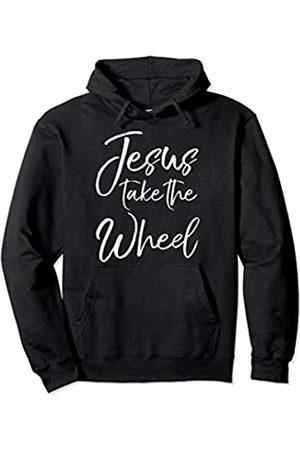 P37 Design Studio Jesus Shirts Christian Faith Quote for Women Cute Jesus Take the Wheel Pullover Hoodie
