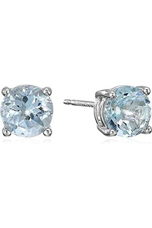 Amazon Sterling Silver Round Aquamarine Birthstone Stud Earrings (March)