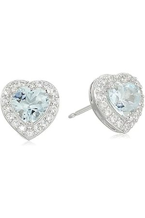 Amazon Collection Sterling Silver Created Aquamarine and Created White Sapphire Halo Heart Stud Earrings