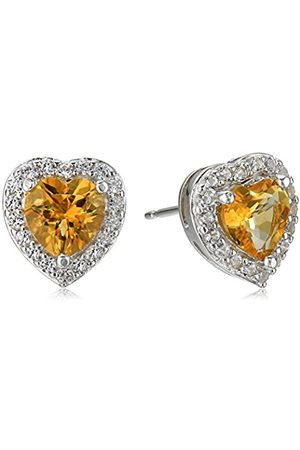 Amazon Collection Sterling Silver Genuine Citrine and Created White Sapphire Halo Heart Stud Earrings
