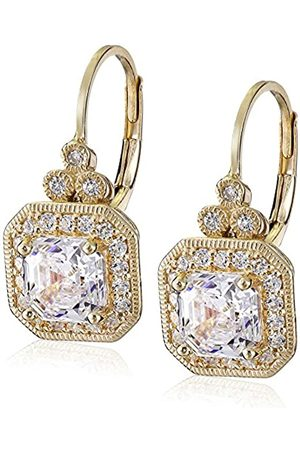 Amazon Collection Plated Sterling Silver Antique Drop Earrings set with Asscher Cut Swarovski Zirconia