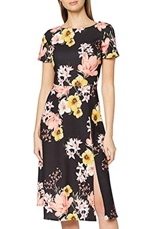 Dorothy Perkins Women's Coral and Black Floral Midi Dress