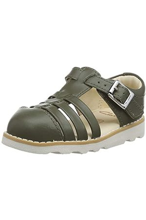 Clarks Boys' Crown Stem T Ankle Strap Sandals, (Khaki Khaki)
