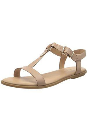 Tommy Hilfiger Women's Feminine Leather Flat Sandal Flip Flops, (Sandbank TRK)