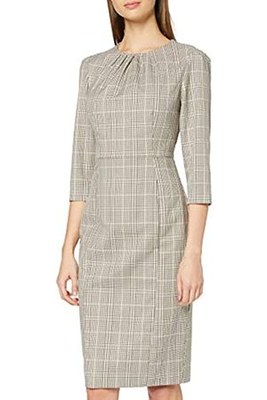 Dorothy Perkins Women's Multi Colored Check High Neck 3 Quarter Sleeve Dress Casual