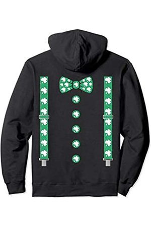 St Patrick Braces -St Patrick's Day Irish bow Tie Bow Ties - Shamrock Braces with Irish bow Tie St Patrick's Day Gift Pullover Hoodie