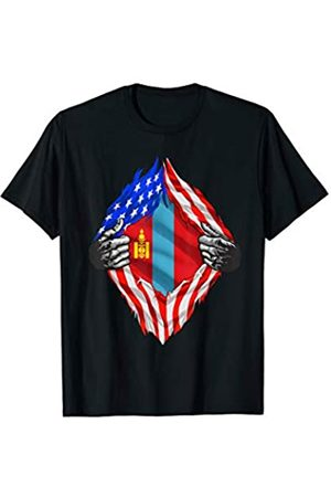 Wowsome! Super Mongol Heritage Mongolia Roots USA Flag Gift T-Shirt