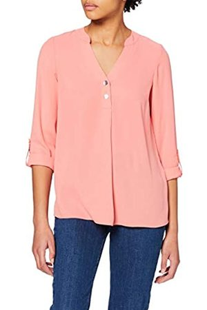 Dorothy Perkins Women's Dark Rose Double Button Collarless Roll Sleeve Top Blouse
