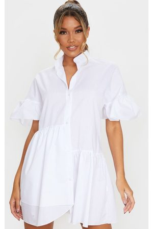 PRETTYLITTLETHING Women Casual Dresses - Frill Detail Drop Hem Button Front Shirt Smock Dress