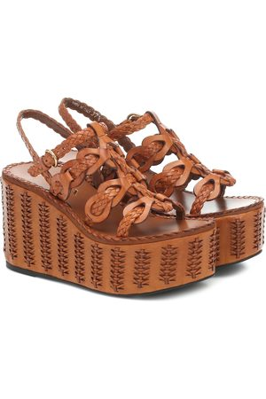 Prada Woven leather platform sandals