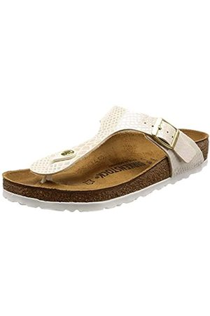 Birkenstock GIZEH Birko-Flor, Women's Flip Flop Heels Sandals, Off (Shiny Snake Cream)