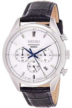 Seiko Mens Chronograph Quartz Watch with Leather Strap SSB291P1