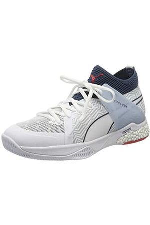 Puma Unisex Adulto Explode Eh 1 Botas de fútbol, Blanco -Dark Denim-High Risk -Glacier Gray 01