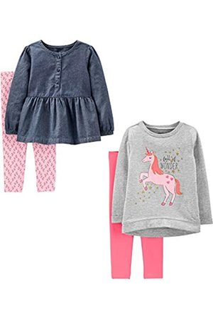 Simple Joys by Carter's 4-piece Long-sleeve Shirts and Pants Playwear Set Unicorns/Chambray