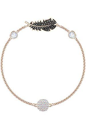 Swarovski Women's Rose-Gold Tone Plated Black Crystal Remix Collection Feather Strand Bracelet 5495340