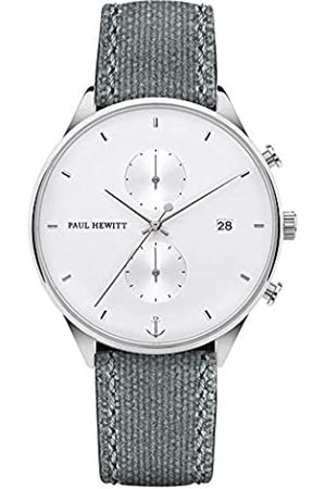 Paul Hewitt Chrono Line White Sand - Stainless Steel Watch for Men with Stopwatch and Grey Canvas Strap