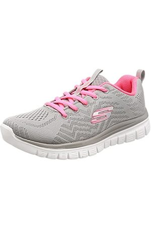 Skechers Women 12615 Low-Top Trainers, (Gray Mesh/Coral Trim Gycl)