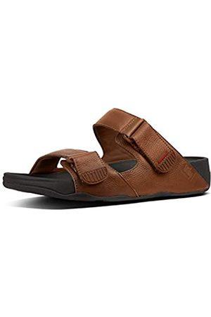 FitFlop Men's Gogh MOC Slide in Leather Open Toe Sandals, (Dark Tan 277)