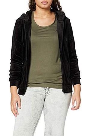 Urban Classics Women's Ladies Velvet Zip Hoody Hooded Sweatshirt