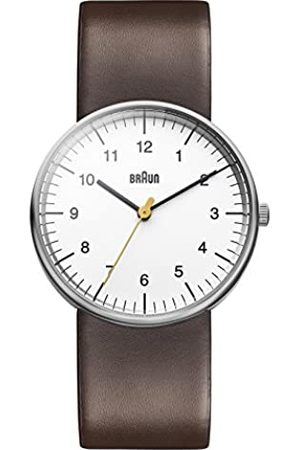 von Braun Men's Quartz Three Hand Movement Watch with White Dial Analogue Display and Leather Strap BN0021WHBRG
