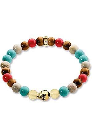 Thomas Sabo Women Men-Bracelet Rebel at Heart 925 Sterling Silver 18k yellow plating red turquoise brown Length 19 cm A1513-882-7-L19