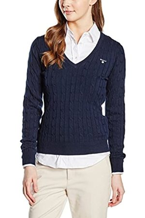 GANT Women's Stretch Cotton Cable V-Neck Jumper
