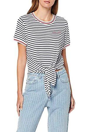 Tommy Jeans Women's Tjw Front Tie Contrast Rib Tee Sports Knitwear, ( Iris/Classic 002)