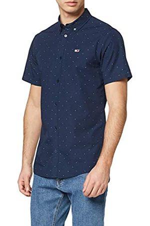 Tommy Jeans Men's TJM Shortsleeve Dobby Shirt Casual, (Twilight Navy/Multi C87)