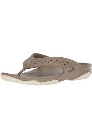 Crocs Men's Swiftwater Deck Flip Flop, (Khaki/Stucco)