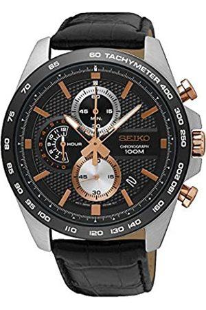 Seiko Men's Chronograph Quartz Watch with Leather Strap SSB265P1