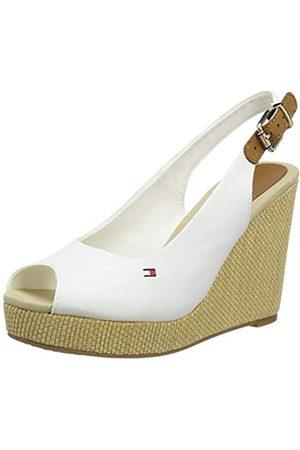 Tommy Hilfiger Women's Iconic Elena Sling Back Wedge Open Toe Sandals, (Ivory Ybi)