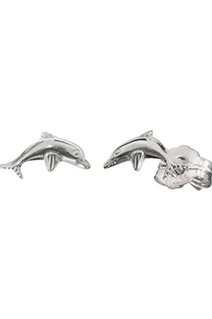 HERZENGEL Ear Studs for Girls with Little Dolphin 925-Sterling Rhodium Plated Size 4