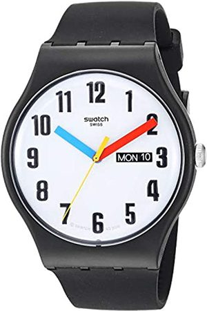 Swatch Mens Analogue Quartz Watch with Silicone Strap SUOB728
